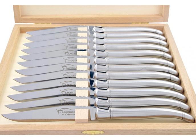 Coffret de couteaux de table Laguiole tout inox mat (brossé), lavables en machine