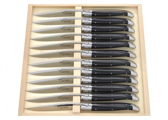 Coffret de couteaux de table avec mitres inox brillant, lavables en machine, manche fin en corian noir