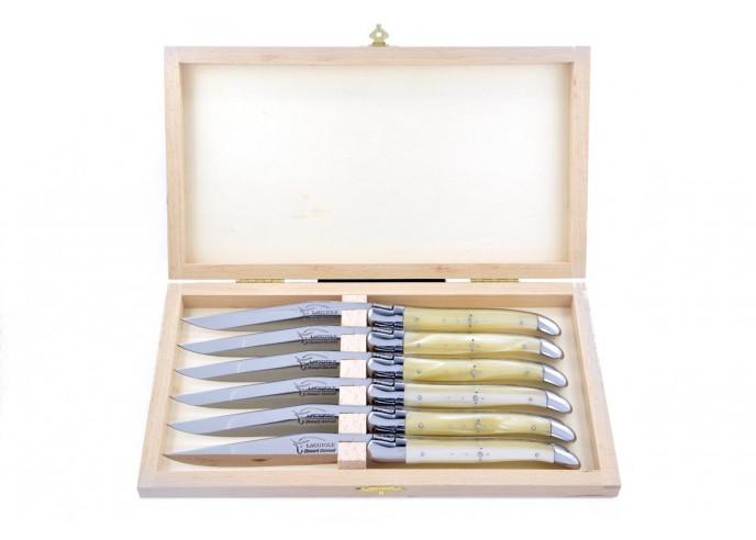 Coffret de couteaux de table Laguiole avec mitres inox brillant, manche fin en acrylique ténéré