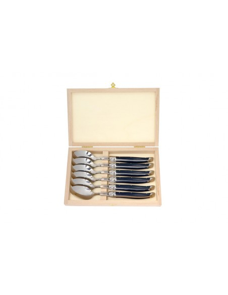 Petites cuillères Laguiole avec manche en corian noir et mitres inox brillant. Lavables en machine.