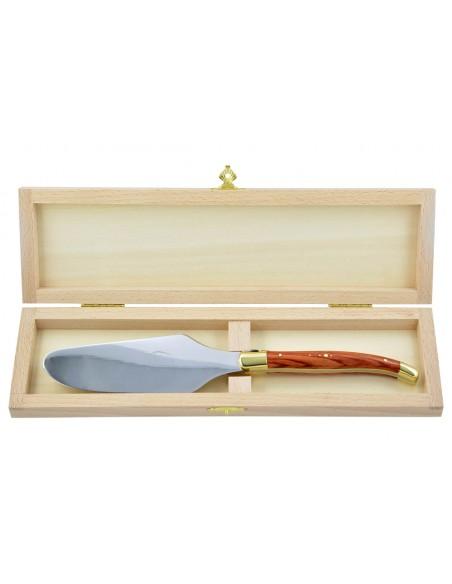 Pelle à tarte Laguiole. Finition laiton avec manche galbé en bois de rose