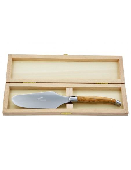 Pelle à tarte Laguiole. Finition inox mat avec manche galbé en bois de rose