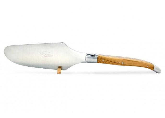 Pelle à tarte Laguiole. Finition inox mat avec manche galbé en bois d'olivier
