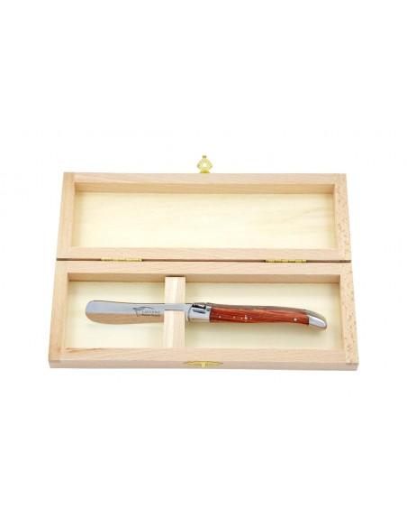 Couteau à beurre Laguiole. Finition inox brillant avec manche fin en bois de rose