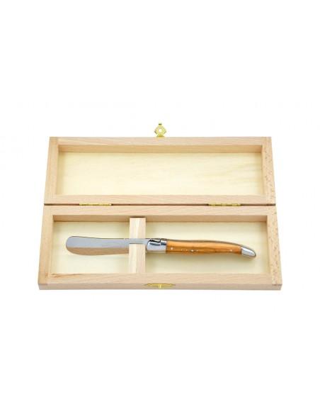 Couteau à beurre Laguiole. Finition inox brillant avec manche galbé en bois d'olivier