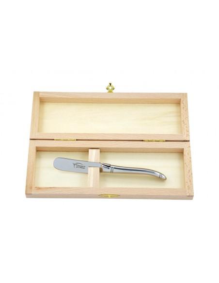 Couteau à beurre Laguiole. Finition plein manche tout inox brillant, lavable en machine