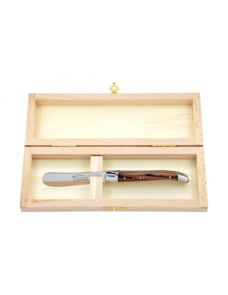 Couteau à beurre Laguiole. Finition inox brillant avec manche fin en bois de violette