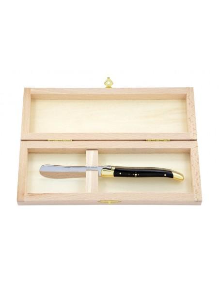 Couteau à beurre Laguiole. Finition laiton avec manche galbé en bois d'ébène
