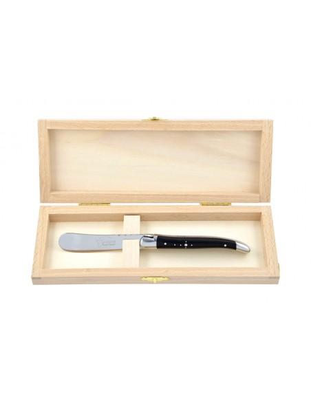Couteau à beurre Laguiole. Finition inox brillant avec manche galbé en bois d'ébène