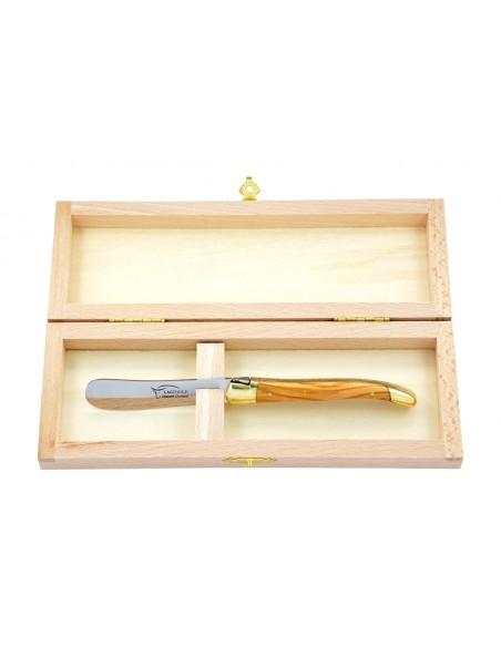 Couteau à beurre Laguiole. Finition laiton avec manche fin en bois d'olivier