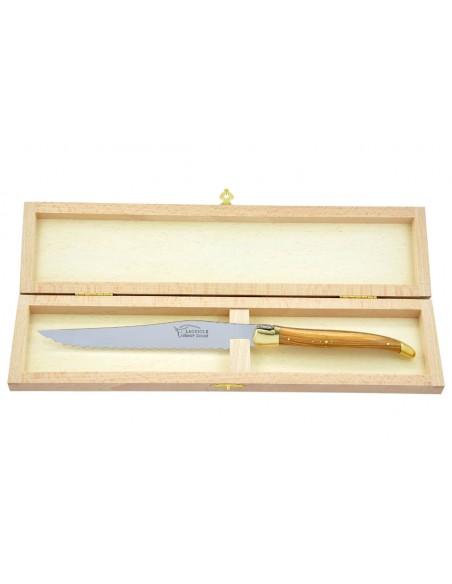 Couteau à pain Laguiole. Finition laiton avec manche galbé en bois d'olivier