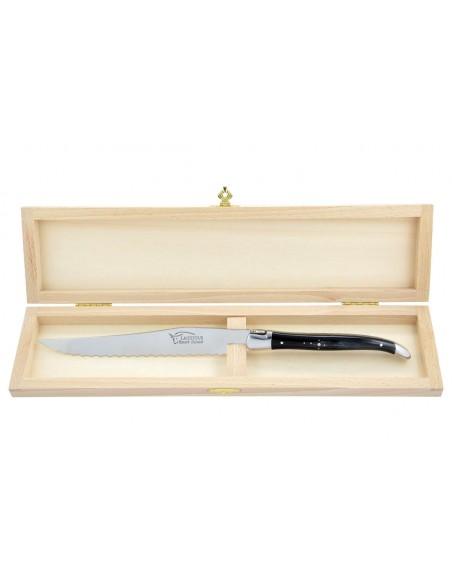 Couteau à pain Laguiole. Finition inox brillant avec manche fin en corne pressée