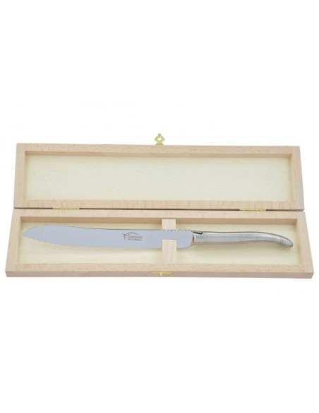 Couteau à pain Laguiole. Finition plein manche inox mat, lavable en machine