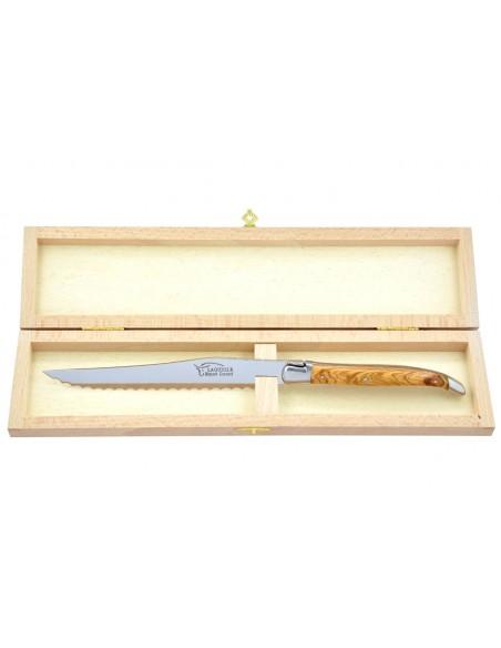 Couteau à pain Laguiole. Finition inox brillant avec manche galbé en bois d'olivier