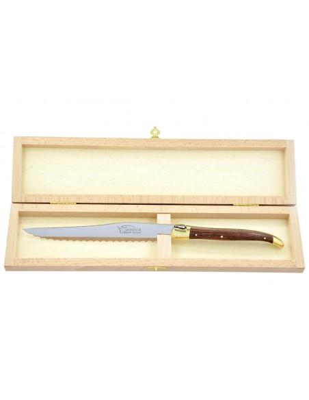 Couteau à pain Laguiole. Finition laiton avec manche fin en bois de violette