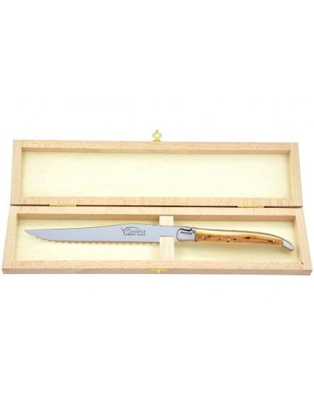 Couteau à pain Laguiole. Finition inox brillant avec manche galbé en genévrier-cade