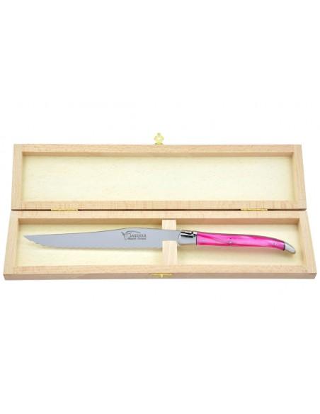 Couteau à pain Laguiole. Finition inox brillant avec manche fin en acrylique rose