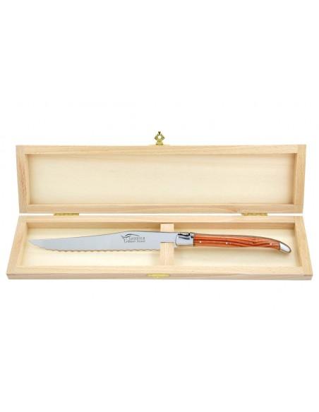 Couteau à pain Laguiole. Finition inox brillant avec manche fin en bois de rose