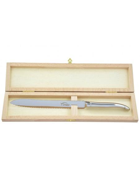 Couteau à pain Laguiole. Finition plein manche inox brillant, lavable en machine