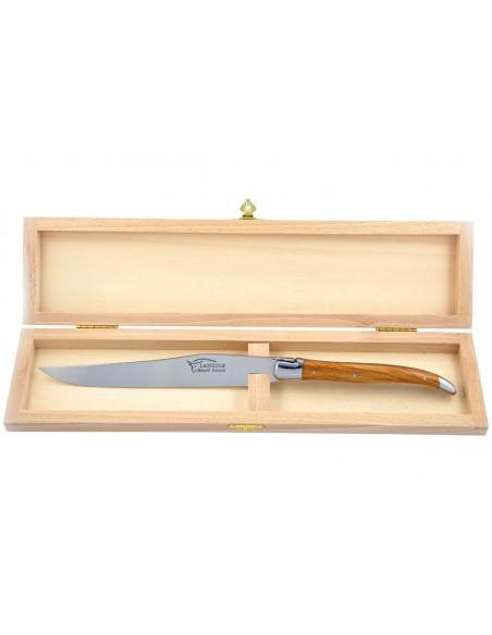 Couteau à découper Laguiole. Manche fin en bois d'olivier avec deux mitres inox brillant.