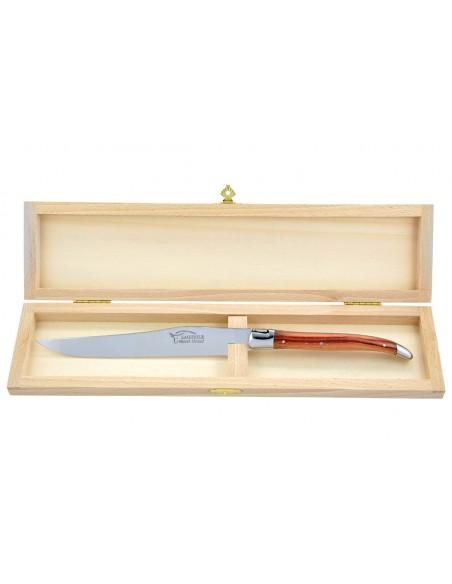 Couteau à découper Laguiole. Manche fin en bois  de rose avec deux mitres inox brillant.