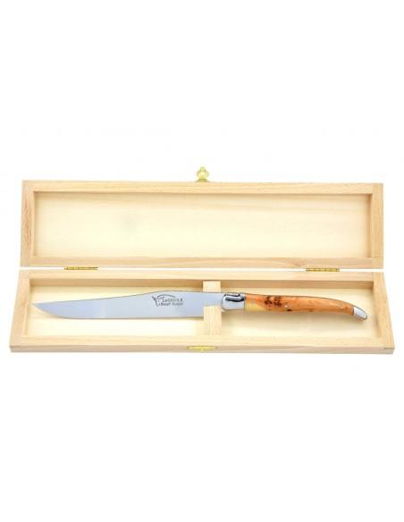 Couteau à découper Laguiole. Manche galbé en genévrier-cade avec deux mitres inox brillant.