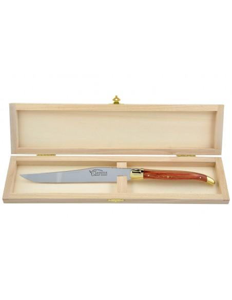 Couteau à découper Laguiole. Manche galbé en bois de rose avec deux mitres laiton.