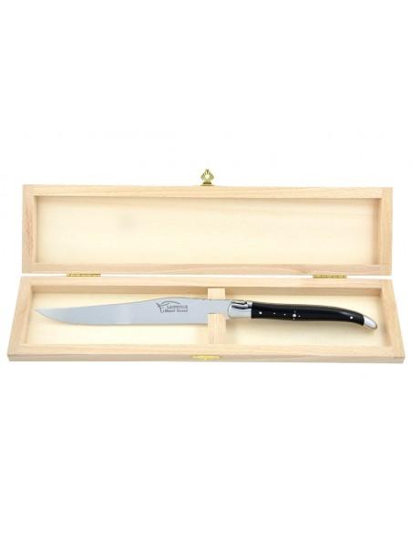 Couteau à découper Laguiole. Manche galbé en bois d'ébène avec deux mitres inox brillant.