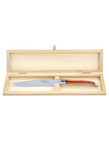Couteau à découper Laguiole. Manche galbé en bois de rose avec deux mitres inox brillant.