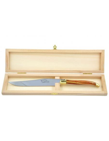 Couteau à découper Laguiole. Manche fin en bois  de rose avec deux mitres laiton