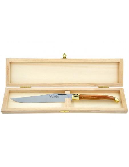 Couteau à découper Laguiole. Manche fin en bois d'olivier avec deux mitres laiton