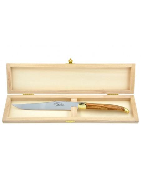 Couteau à découper Laguiole. Manche galbé en bois d'olivier avec deux mitres laiton.