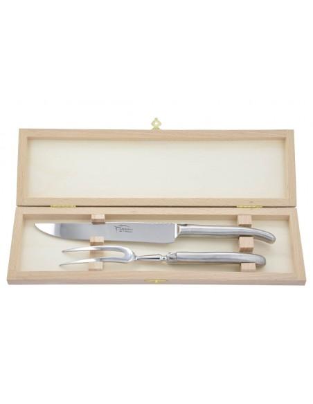 Service à découper Laguiole. Couteau et fourchette tout inox brossé (mat), lavables en machine