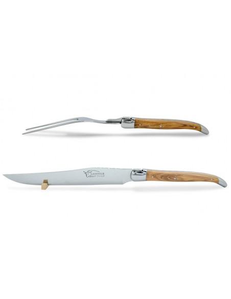Service à découper Laguiole. Couteau et fourchette finition inox brillant avec manches galbés en bois d'olivier