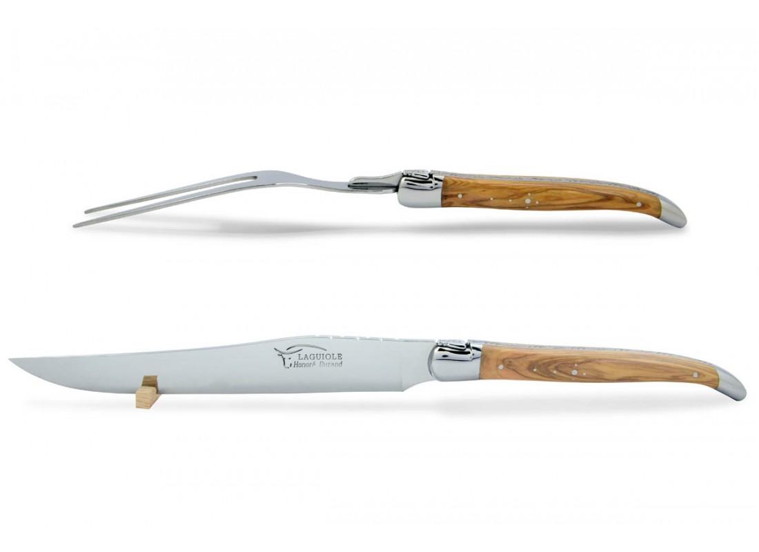 couteau et fourchette d couper avec manche galb s en bois d 39 olivier. Black Bedroom Furniture Sets. Home Design Ideas