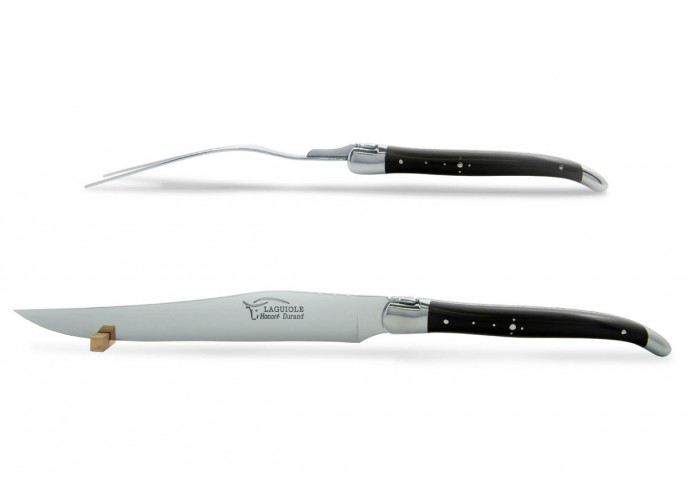 Service à découper Laguiole. Couteau et fourchette finition inox brillant avec manches galbés en bois d'ébène