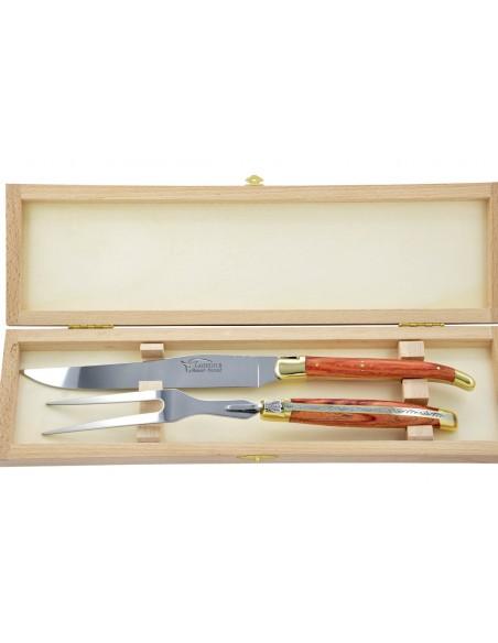 Service à découper Laguiole. Couteau et fourchette finition laiton avec manches galbés en bois de rose