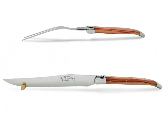 Service à découper Laguiole. Couteau et fourchette finition inox brillant avec manches galbés en bois de rose