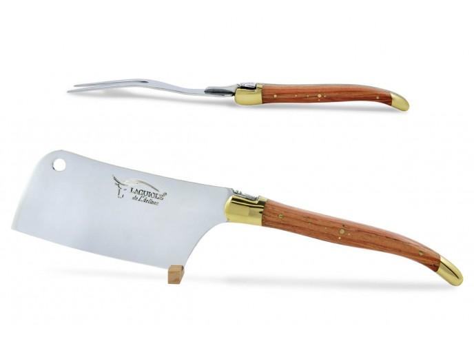 Service à fromage Laguiole. Couperet et fourchette finition laiton, manches fins en bois de rose