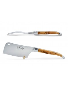 Laguiole cheese set, chopper and fork with shiny stainless steel bolsters. Wide juniper handles