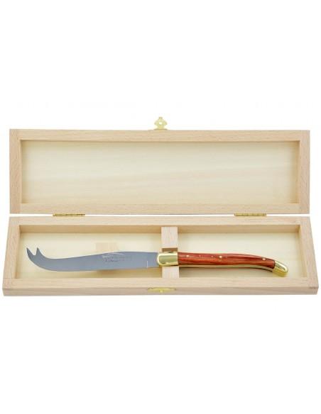Couteau à fromage Laguiole. Finition laiton, manche fin en bois de rose