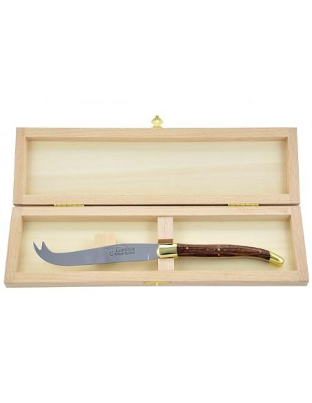 Couteau à fromage Laguiole. Finition laiton, manche fin en bois de violette