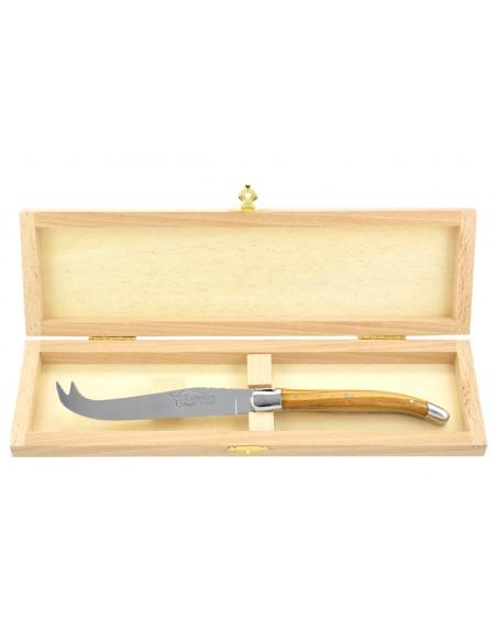 Couteau à fromage Laguiole. Finition inox brillant et manche galbé en bois d'olivier