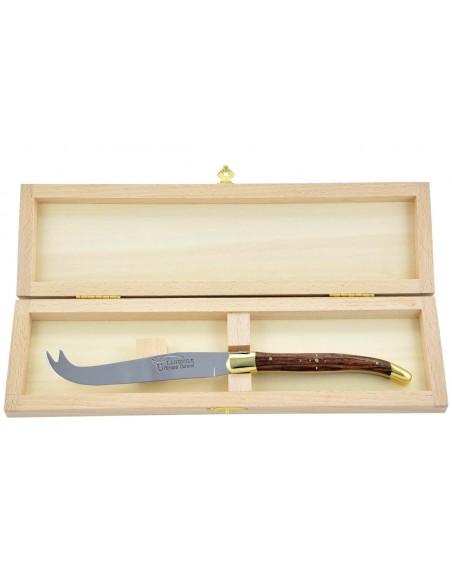 Couteau à fromage Laguiole. Finition laiton et manche galbé en bois de violette