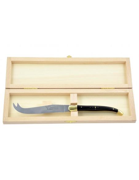 Couteau à fromage Laguiole. Finition laiton et manche galbé en bois d'ébène