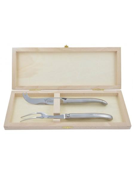 Service à fromage Laguiole. Couteau et fourchette tout inox mat, lavables en machine