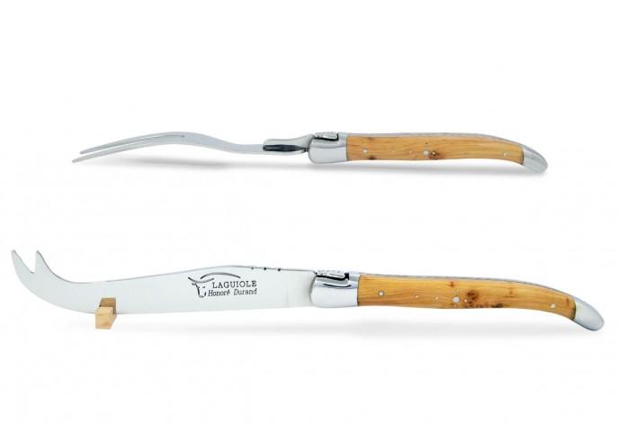Service à fromage Laguiole. Couteau et fourchette finition inox brillant, manches galbés en genévrier-cade