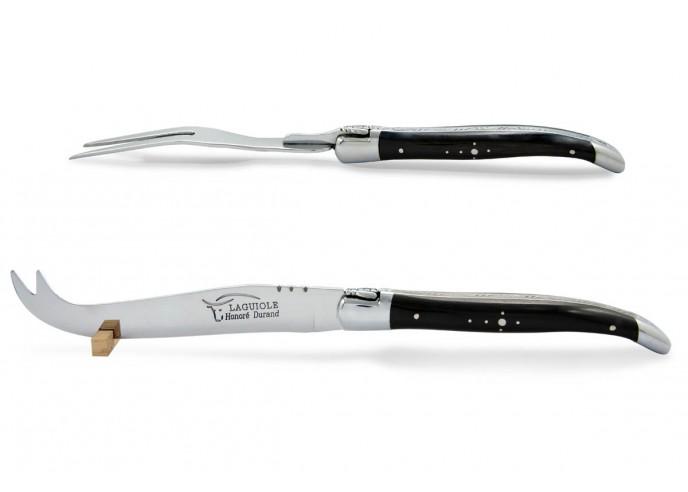 Service à fromage Laguiole. Couteau et fourchette finition inox brillant, manches galbés en bois d'ébène