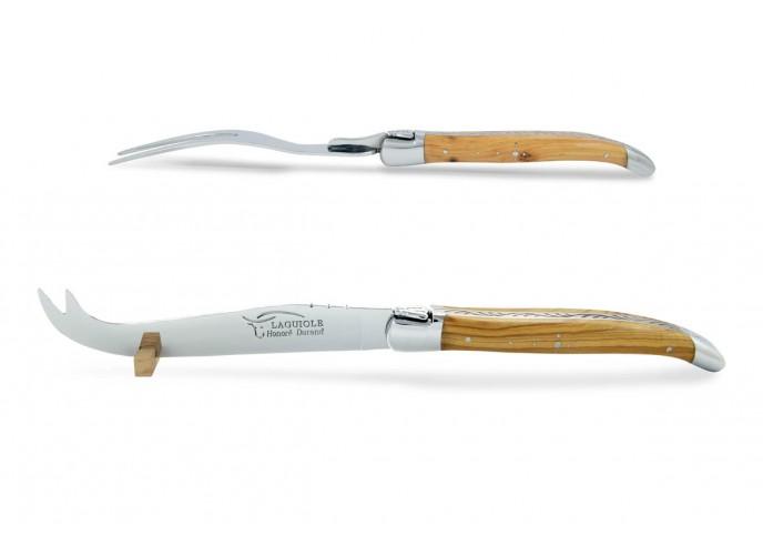 Service à fromage Laguiole. Couteau et fourchette finition inox brillant, manches galbés en bois d'olivier