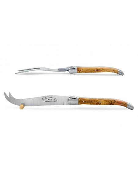 Service à fromage Laguiole. Couteau et fourchette finition inox mat, manches galbés en bois d'olivier